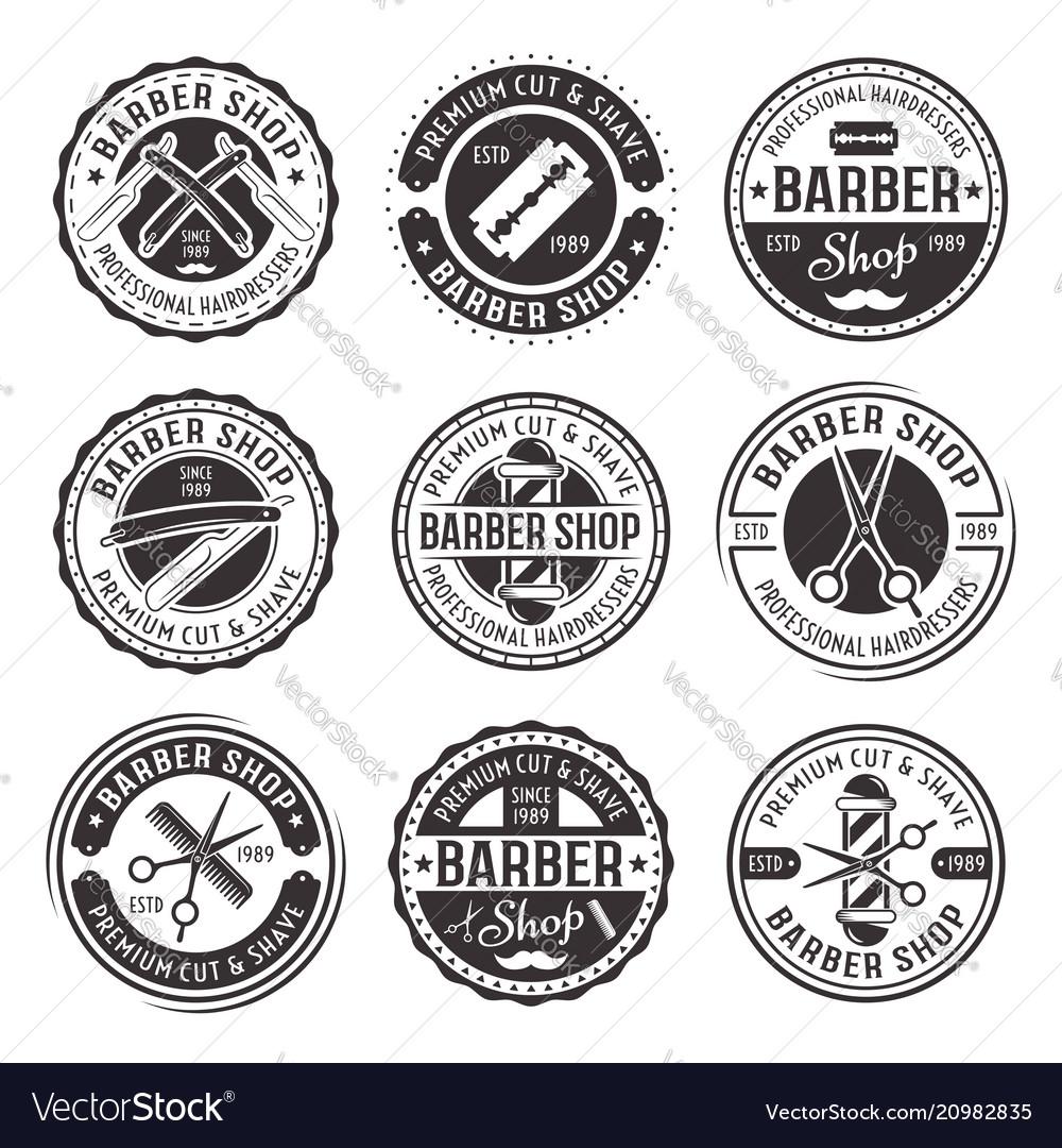 Barber shop set of nine vintage badges