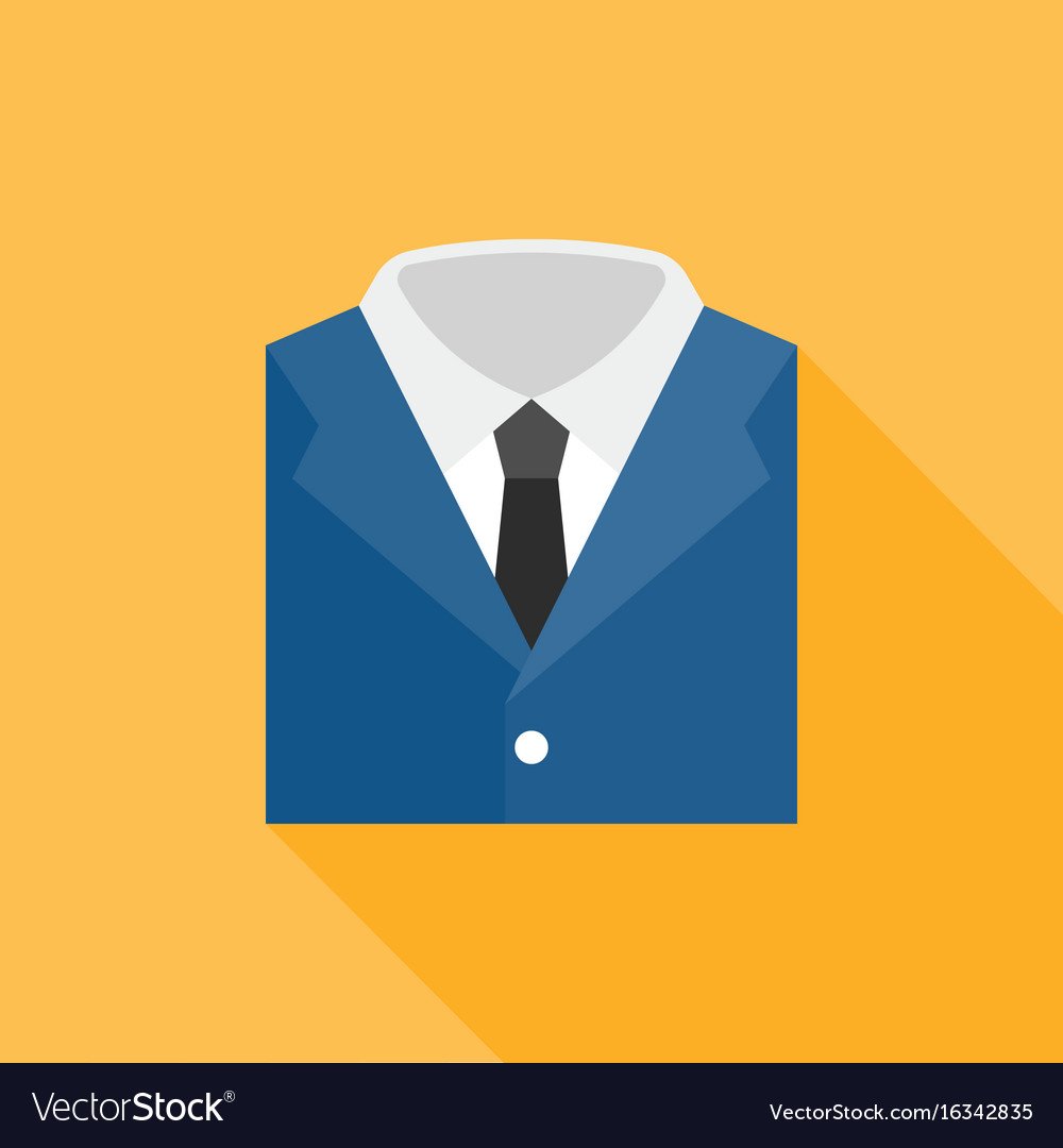 Blue suit with white shirt and neck tie icon