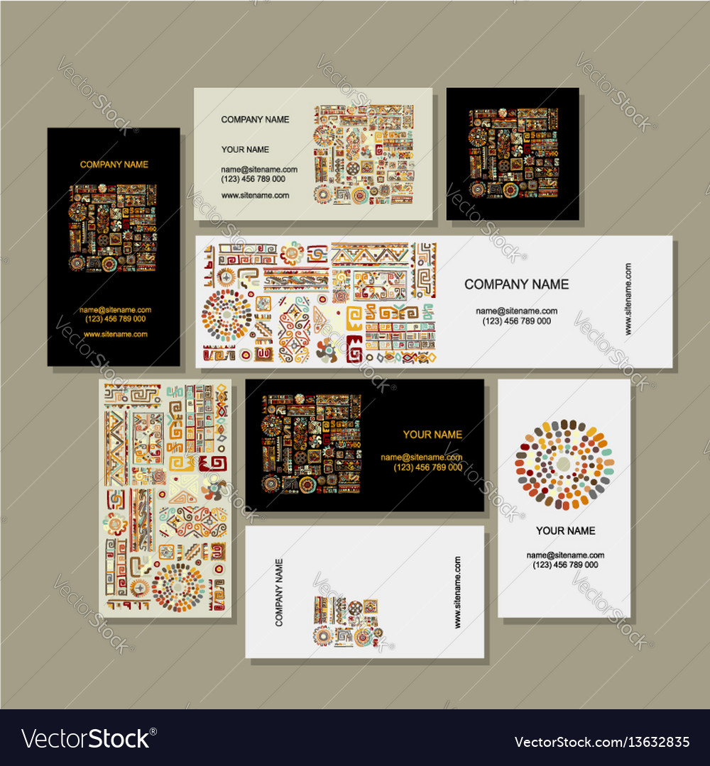 Business cards design ethnic handmade ornament vector image