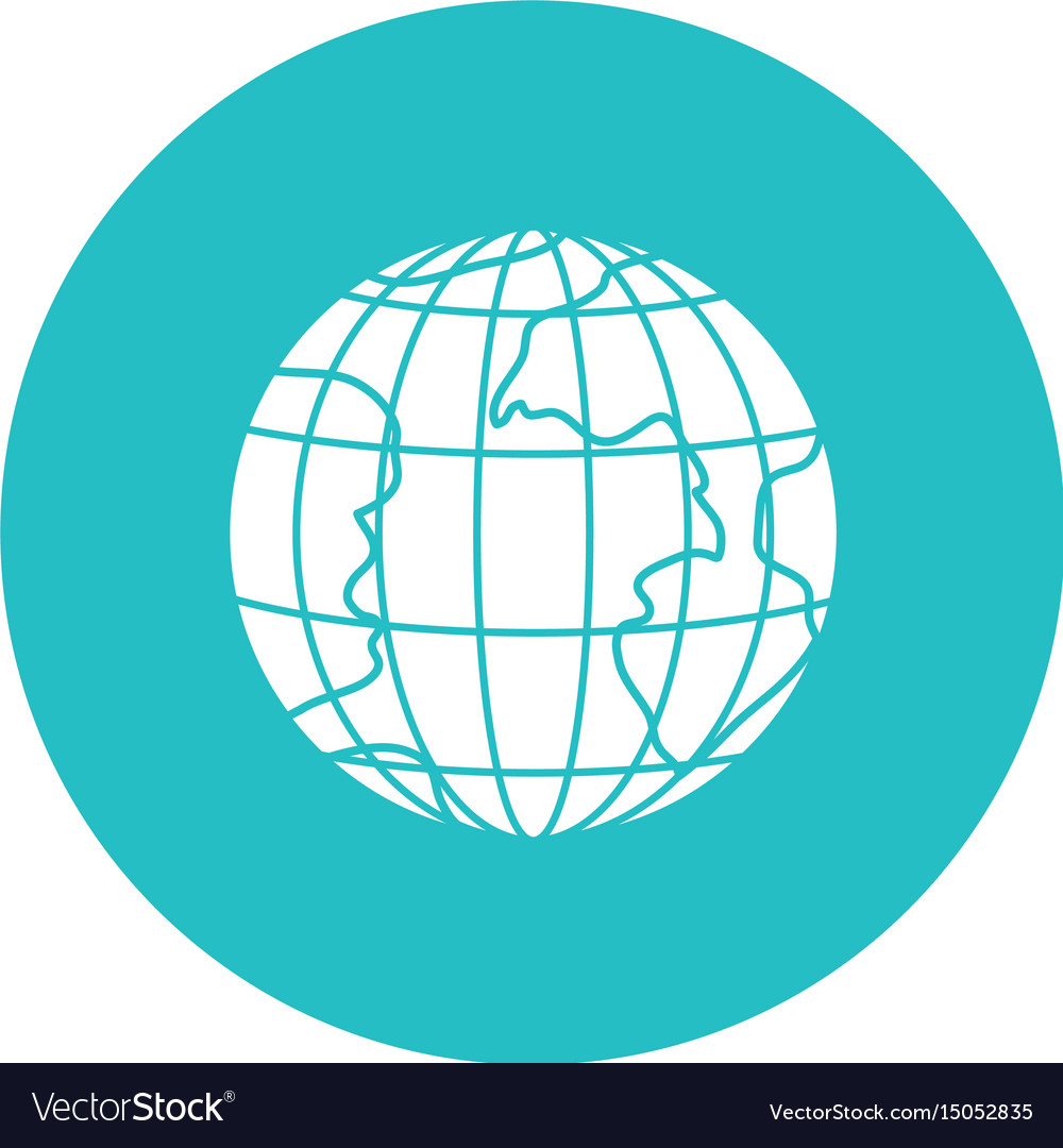 Circle light blue with earth globe with meridians vector image