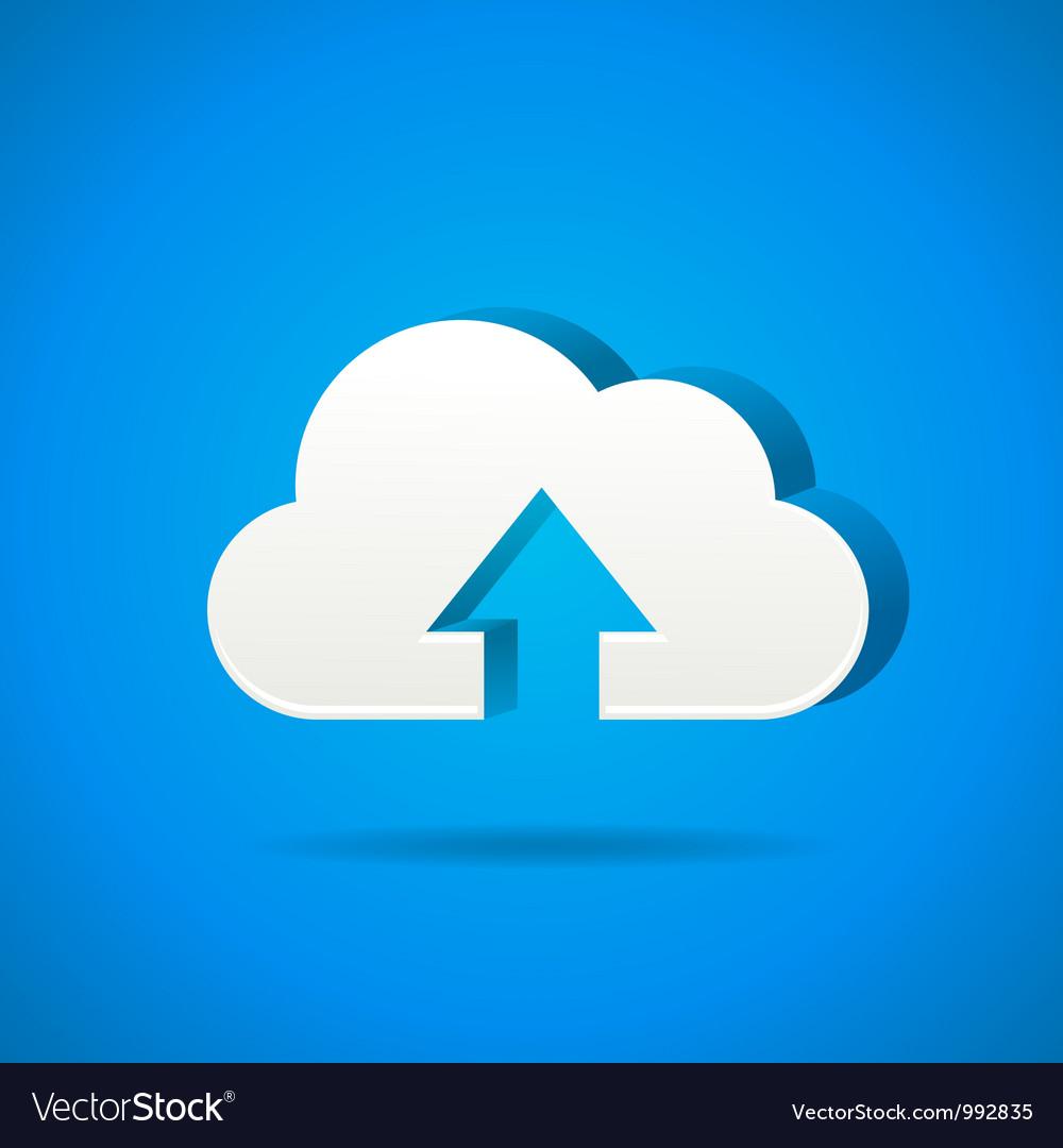 Cloud app icon - upload files vector image
