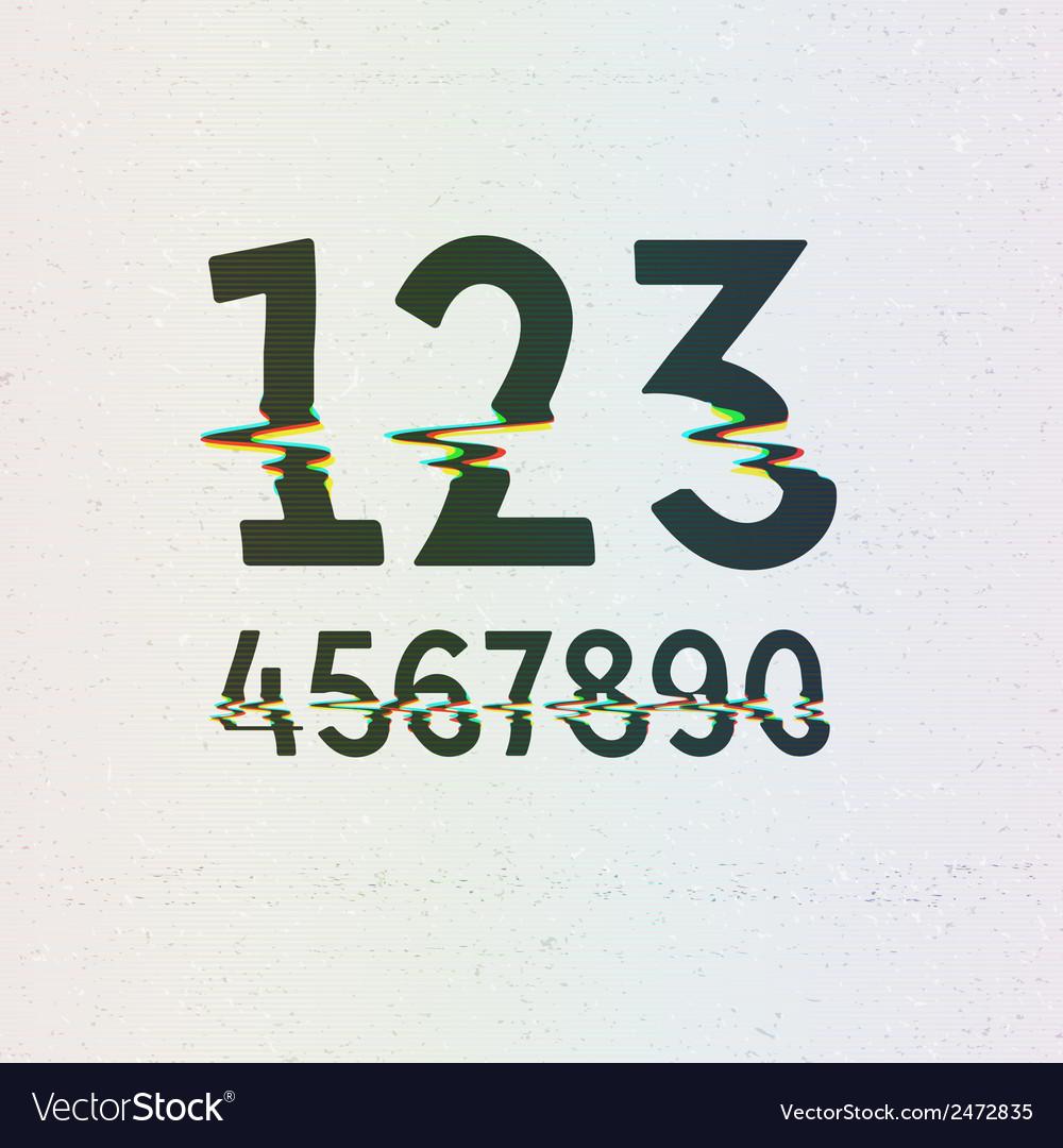 CMYK Print Distortion Digits vector image