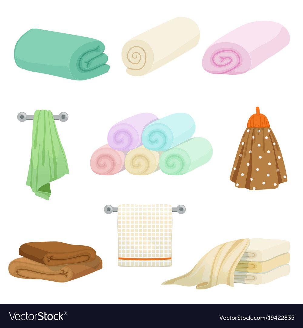 Different colored towels for kitchen and bathroom