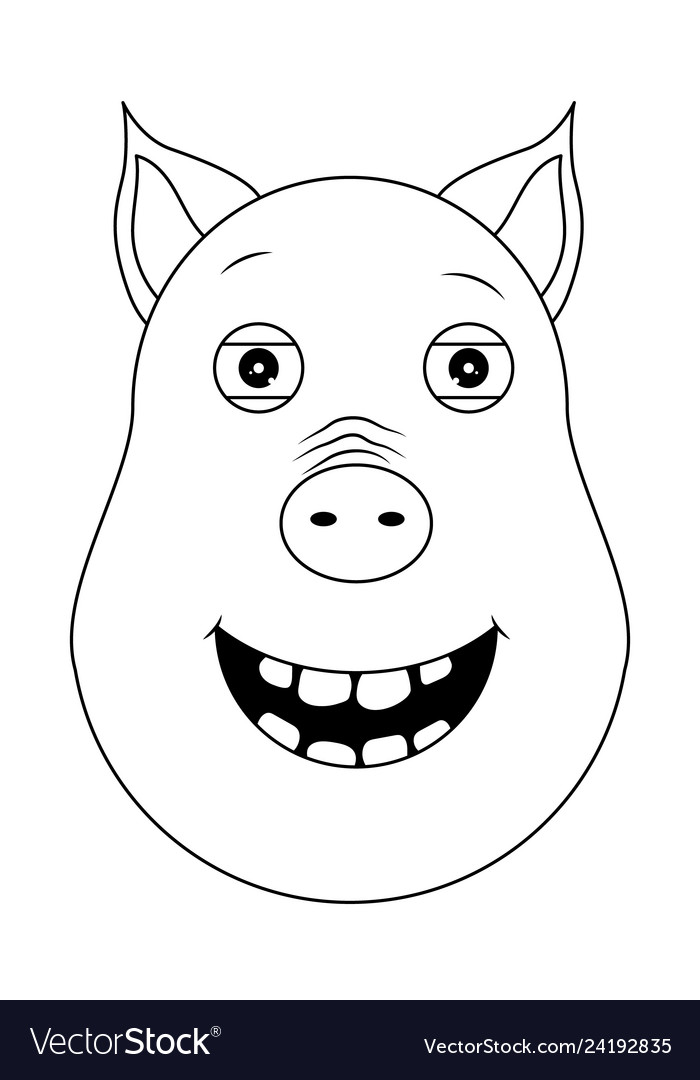 Head of happy pig in outline style kawaii animal