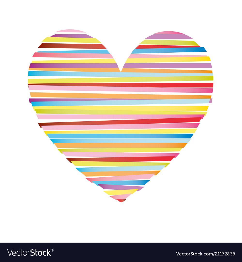 Heart striped colored icon valentine day