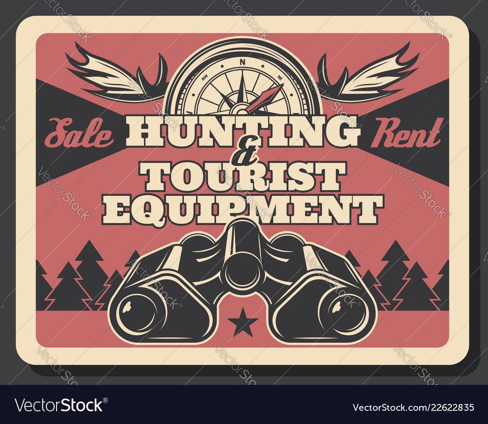 Hunting equipment tourist binoculars and compass