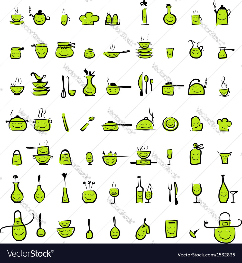 Kitchen utensils characters sketch drawing icons