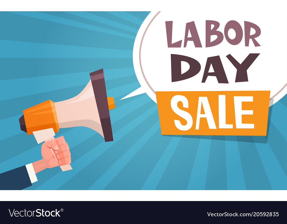 Labor Day Sale Advertising Poster With Hand