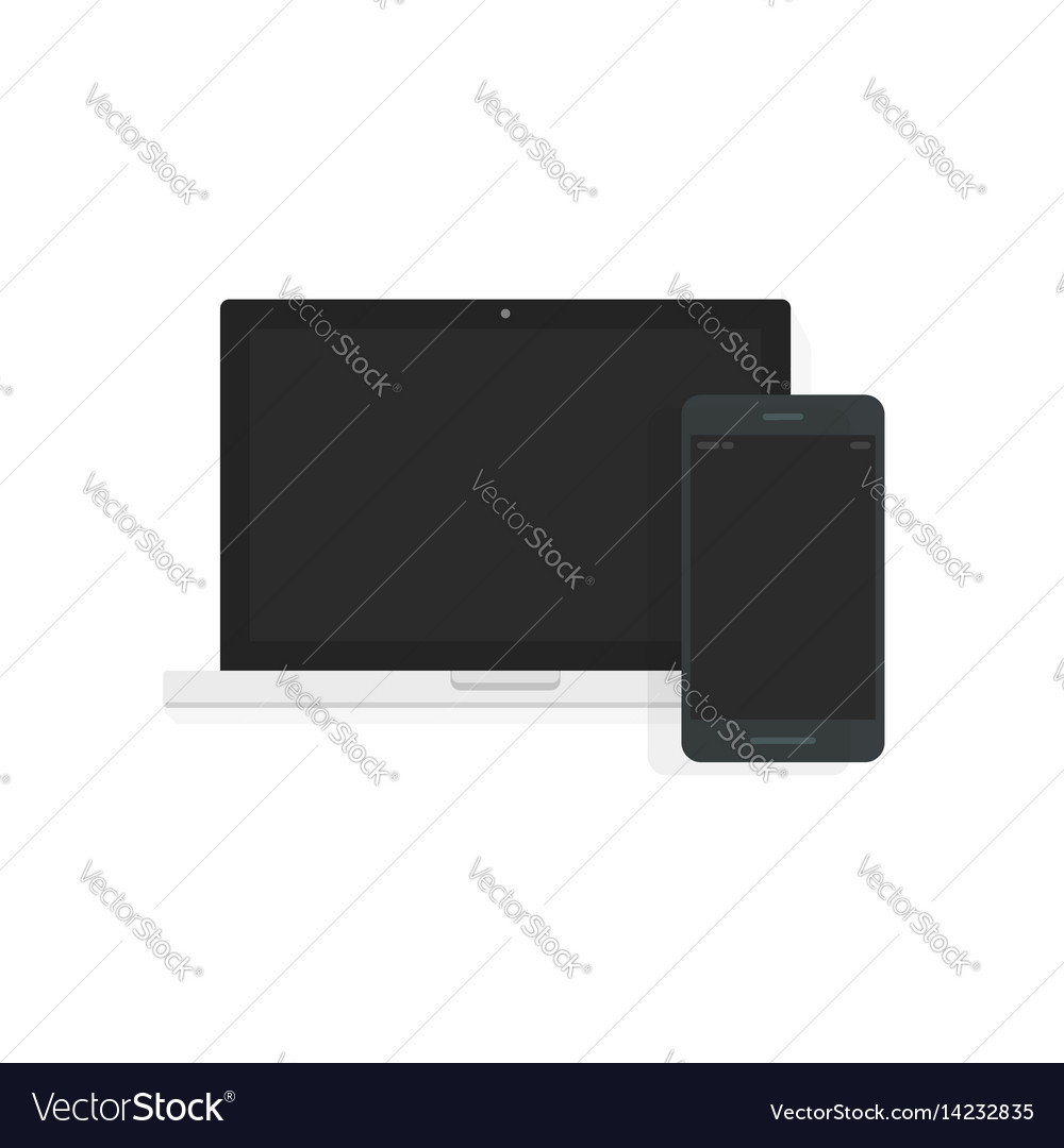 Laptop and mobile phone front view laptop