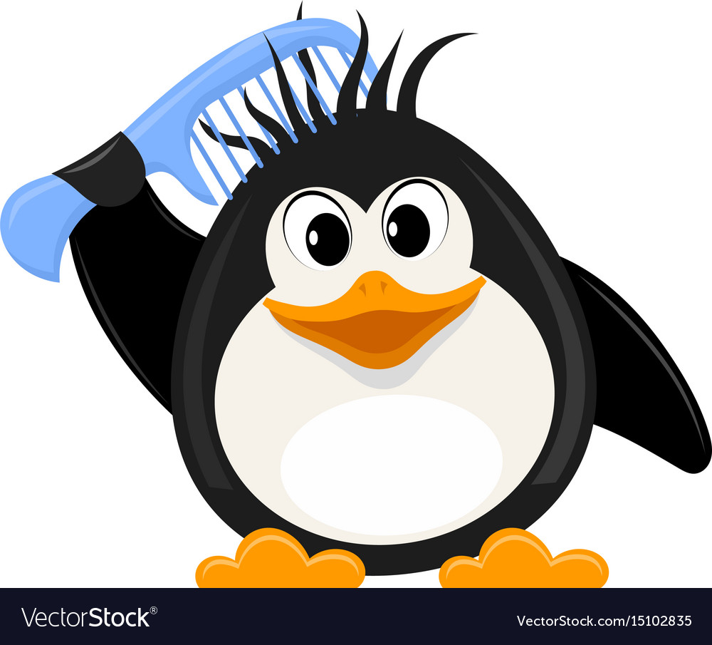 Little cute penguin with a comb on a white