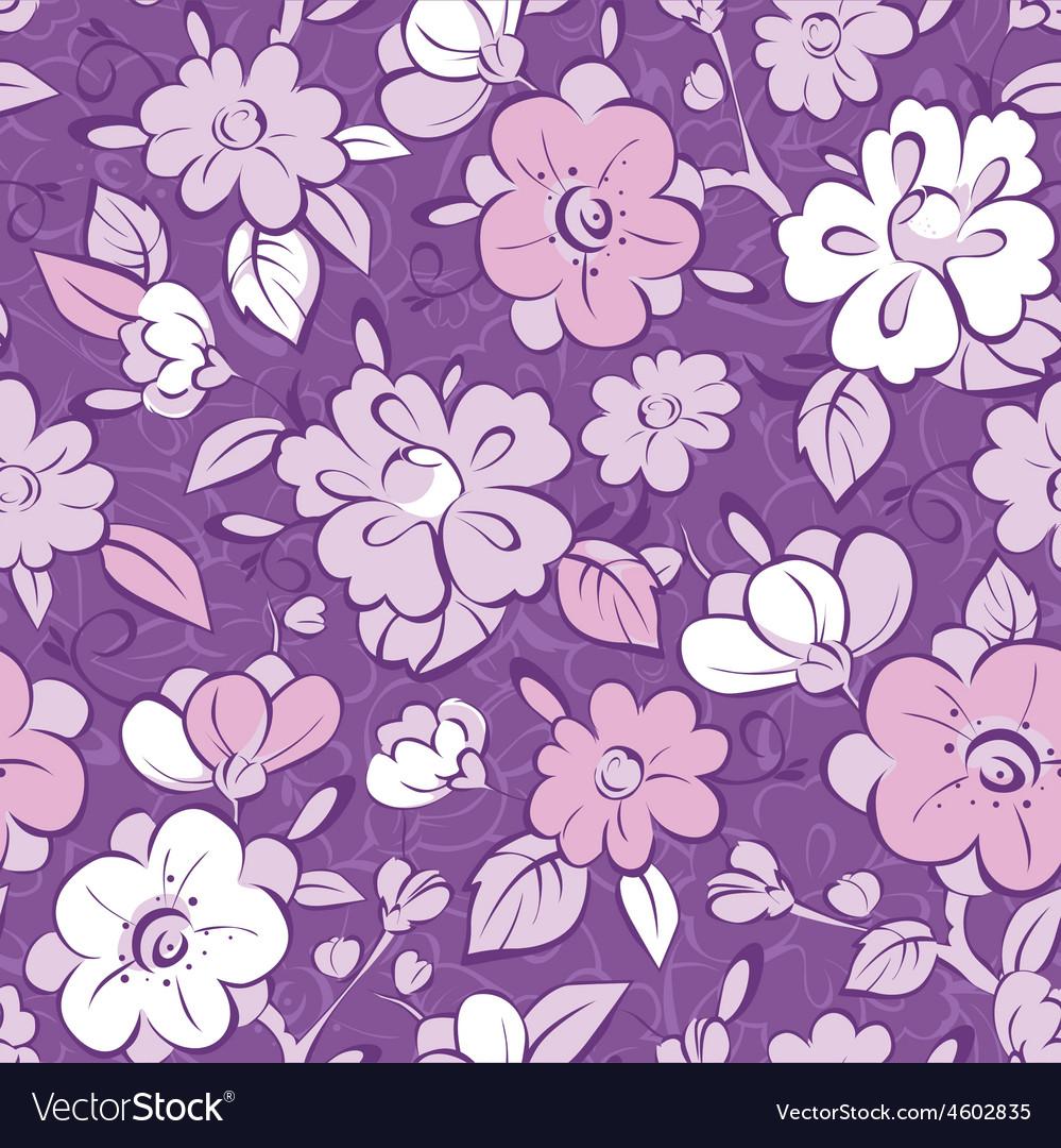 Purple Kimono Florals Seamless Pattern Royalty Free Vector