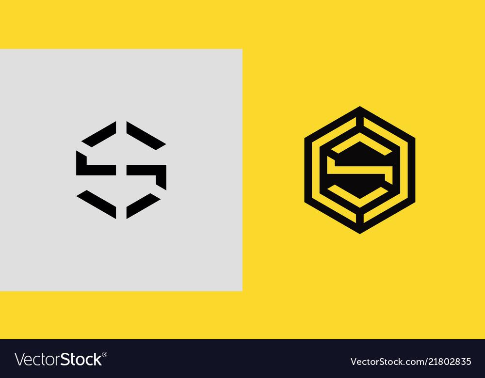 S letter logo geometric template