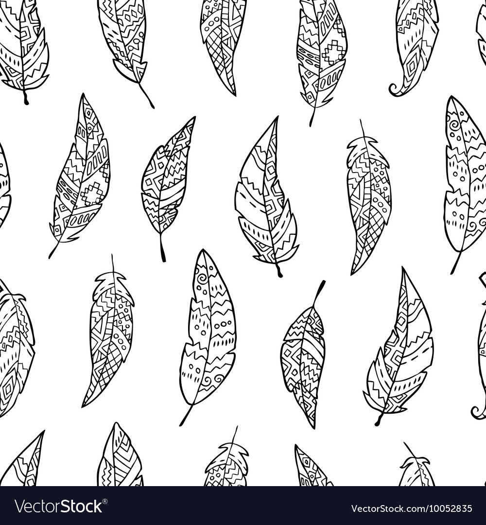 Seamless pattern with monochrome hand drawn ornate