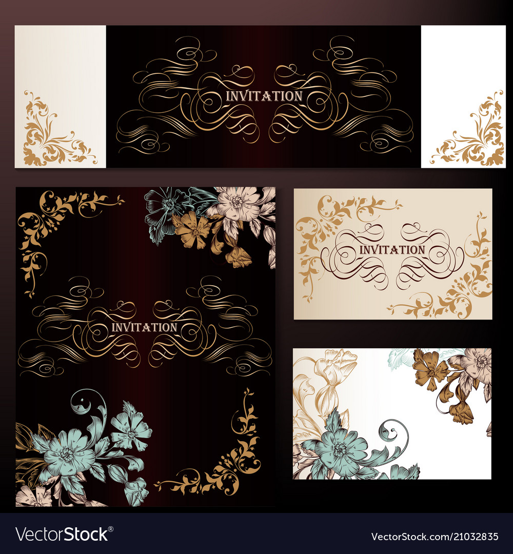 Set of luxury templates for wedding design