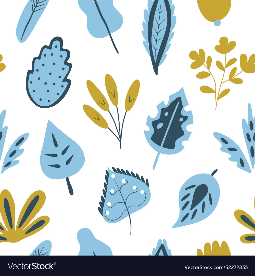 Trendy seamless pattern with hand drawn plants