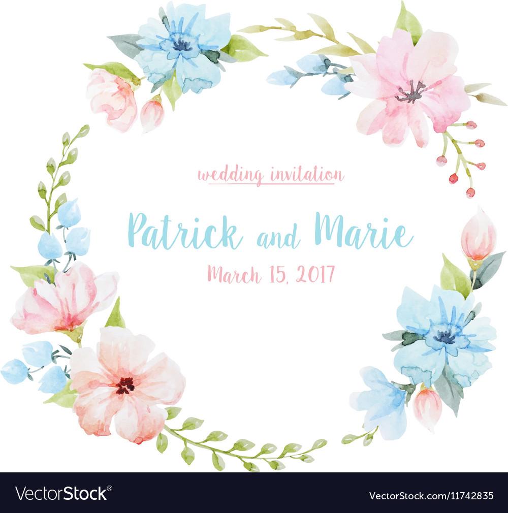 Watercolor floral wreath vector image