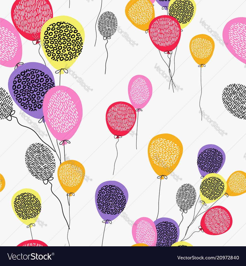 Birthday balloon seamless pattern art background