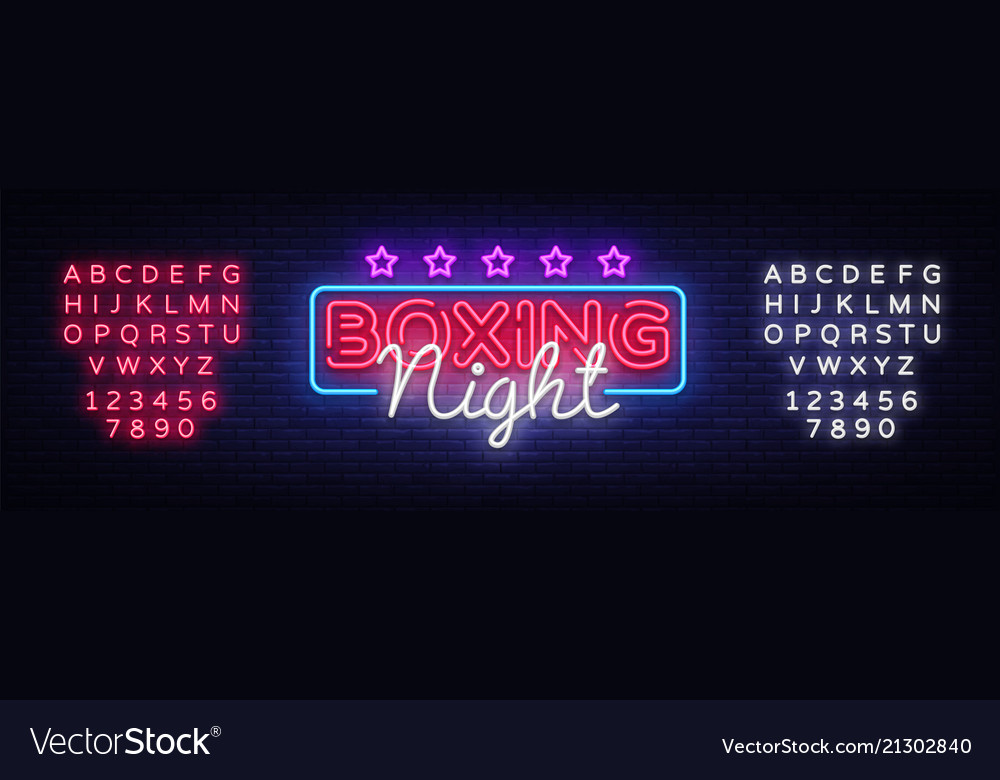 Boxing night neon sign design template