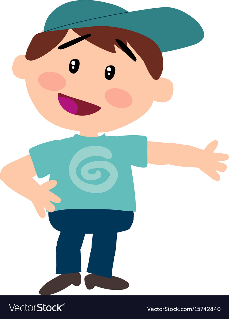 Cartoon character white boy with blue cap showing Vector Image 686b79316df6