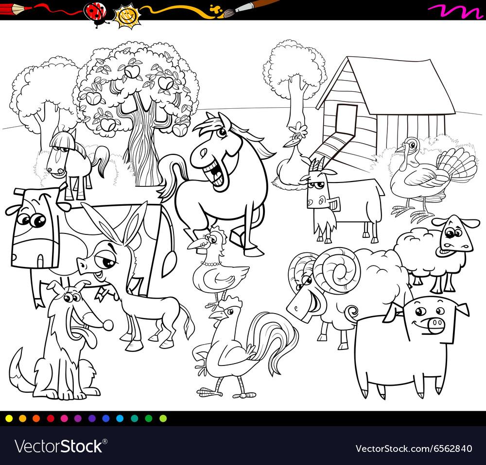 Cartoon farm animals coloring book Royalty Free Vector Image