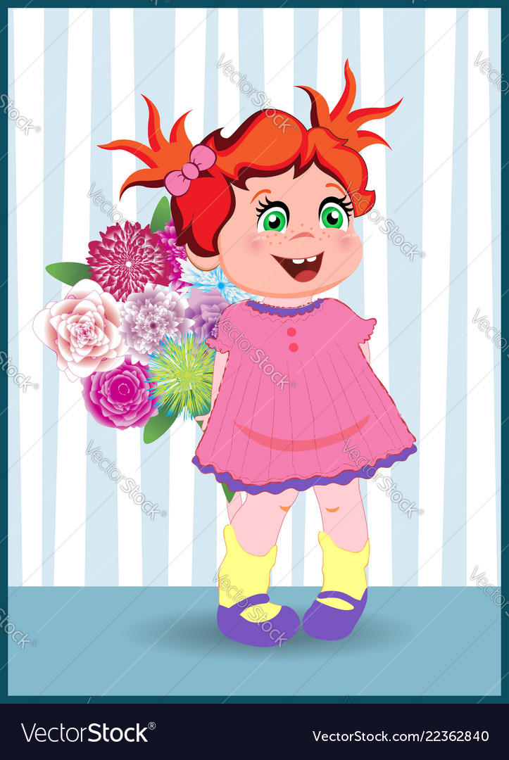 Cartoon little girl with ginger hair wearing pink
