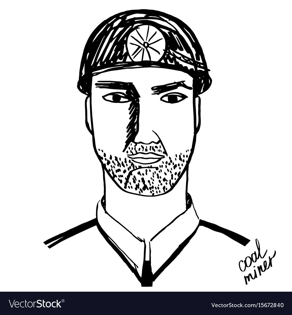 Coal miner black and white vector image