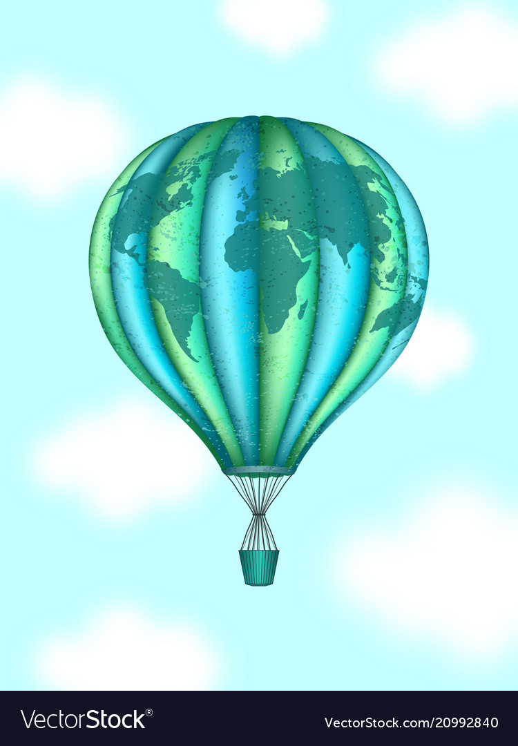 Conceptual art of hot air balloon with world map