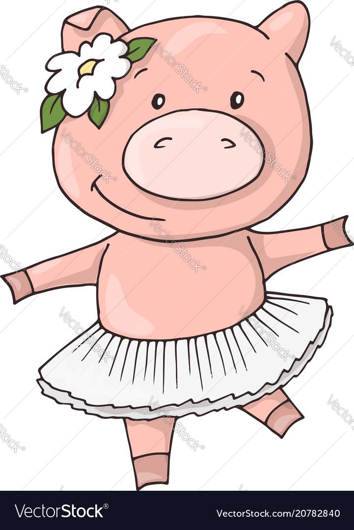 Cute little sweet charming cartoon dancing girl