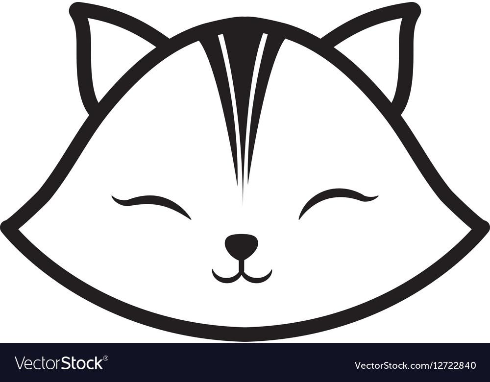 Face cat clossed eyes feline outline