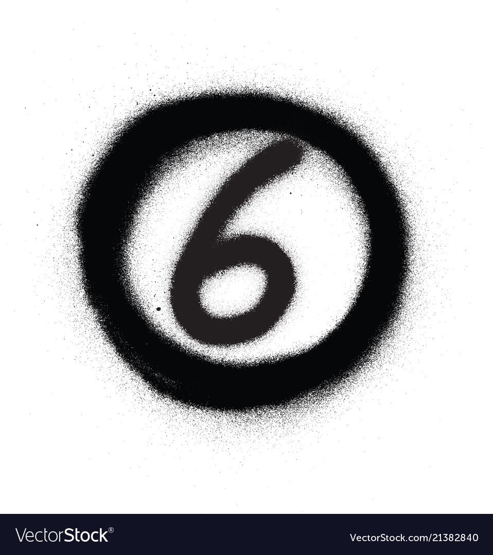 Graffiti number six 6 in circle sprayed in black