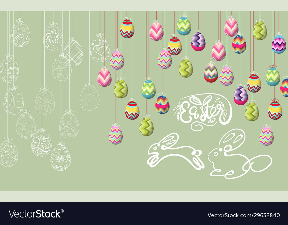 Happy easter template with color ribbon and eggs