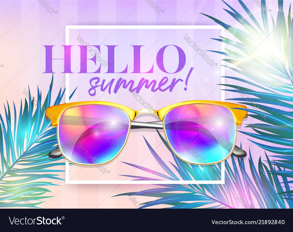 Hello summer bright background with frame