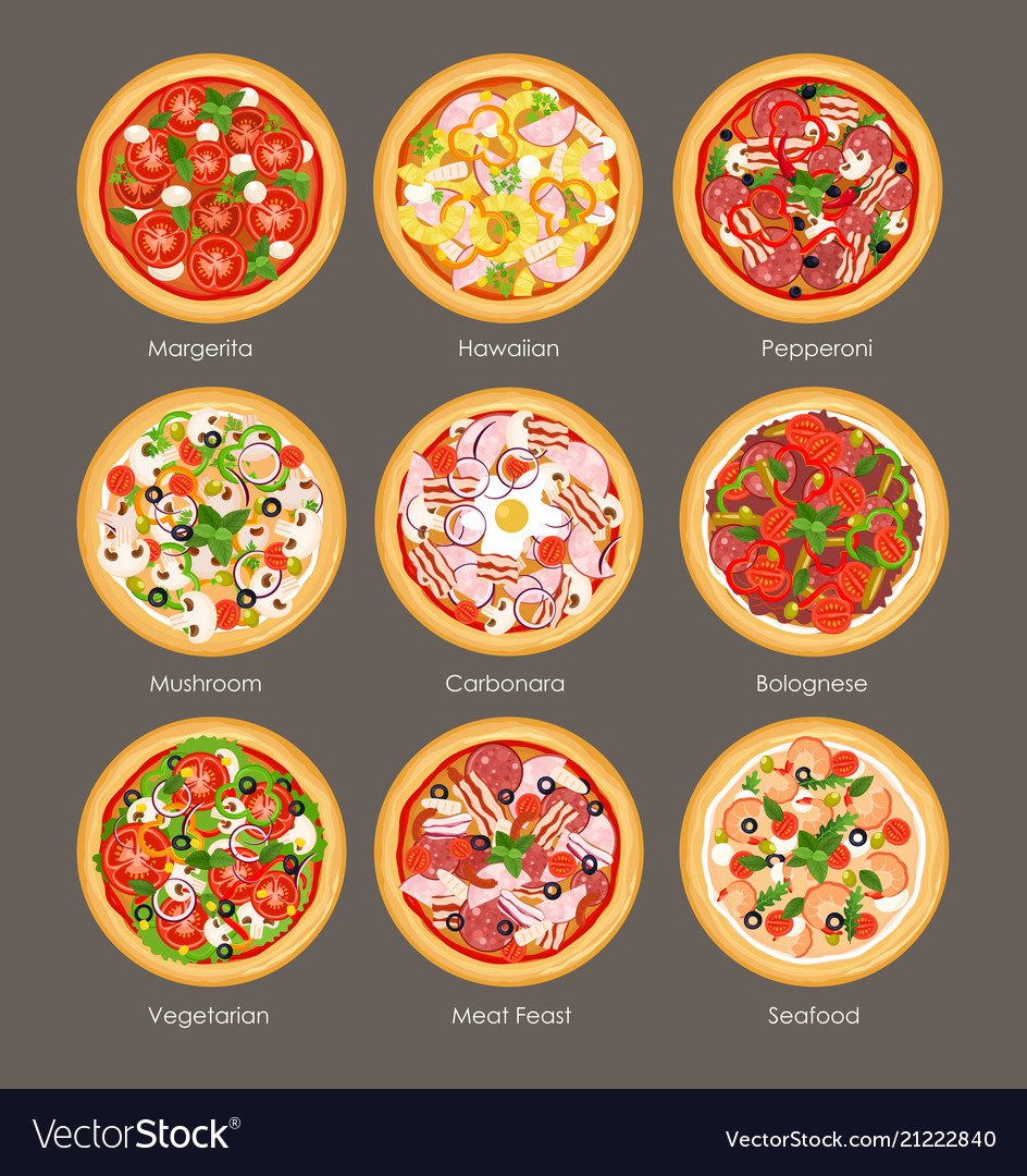 Set of different pizza top
