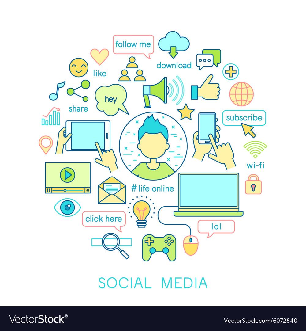Social Media set -line icons vector image