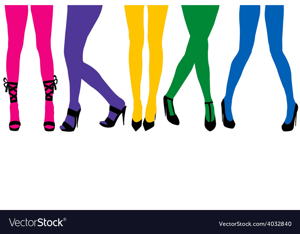Women sexy legs with colored stocking