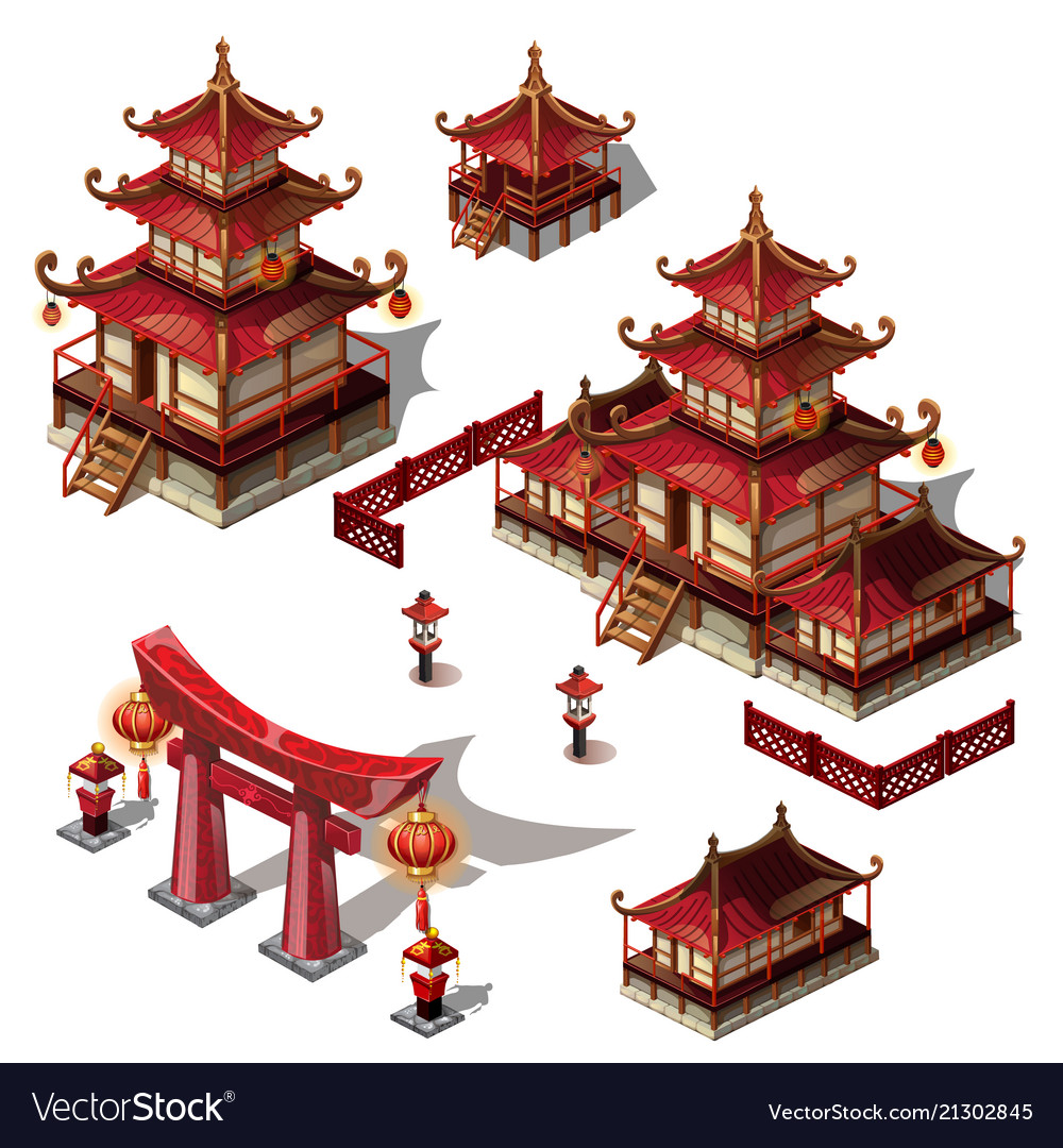 A set architectural elements in oriental style
