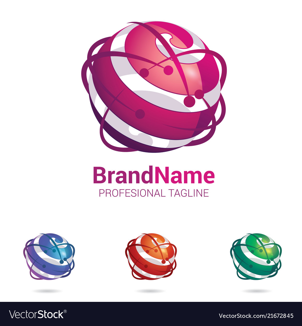 Abstract 3d logo stylized spherical surface