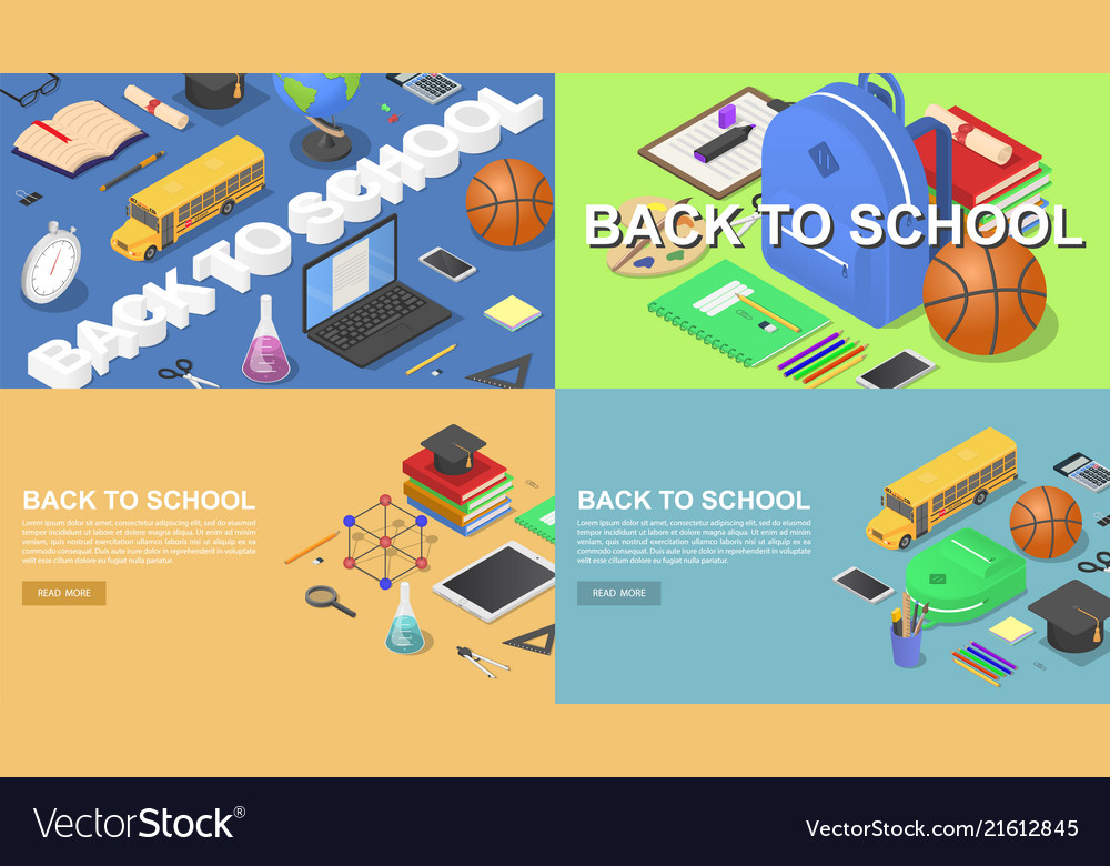 Back to school banner concept set isometric style