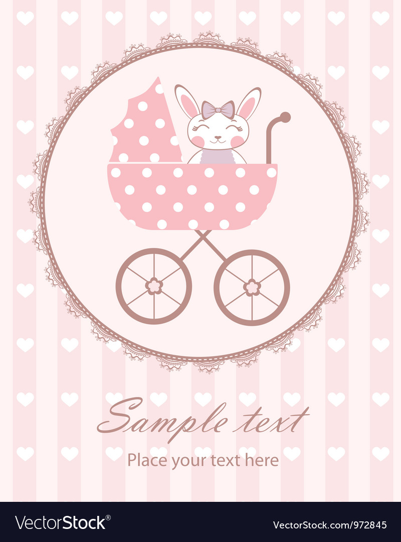 Bunny baby girl in frame Royalty Free Vector Image