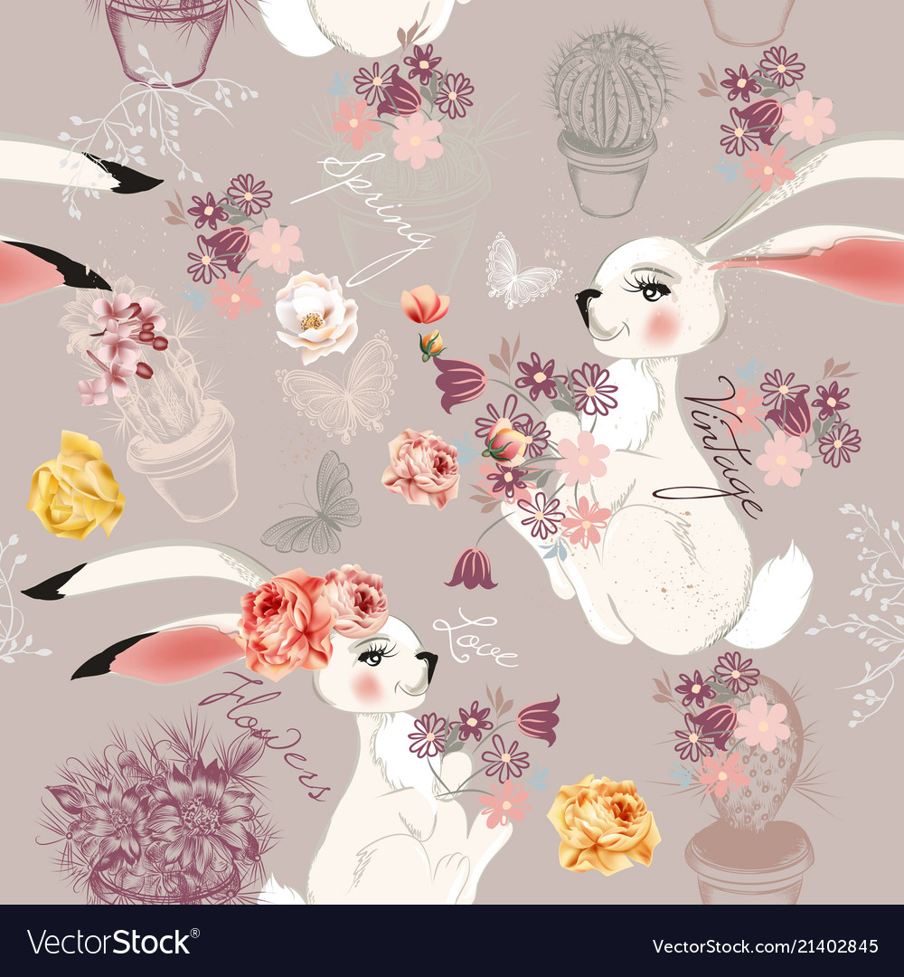Fashion seamless background rabbits and flowers
