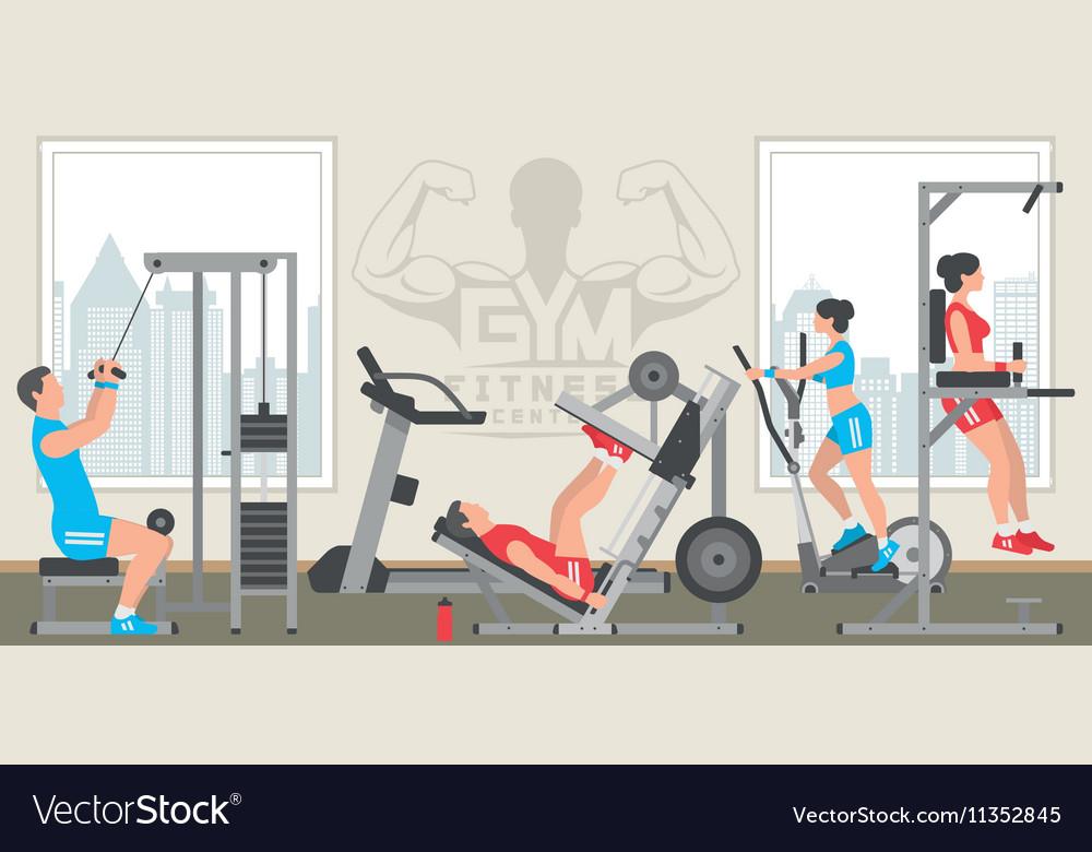 Flat gym interior royalty free vector image vectorstock