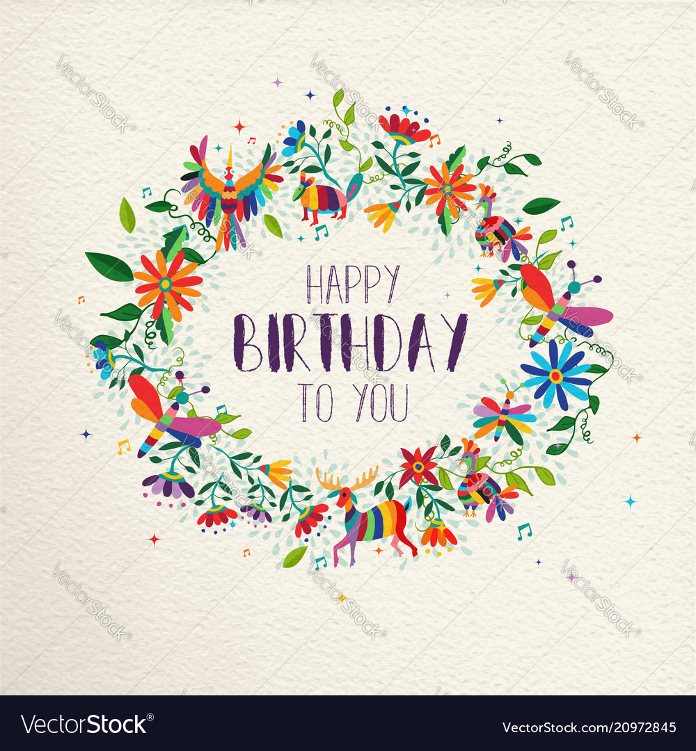 Happy Birthday Spring Flower Wreath Greeting Card Vector Image