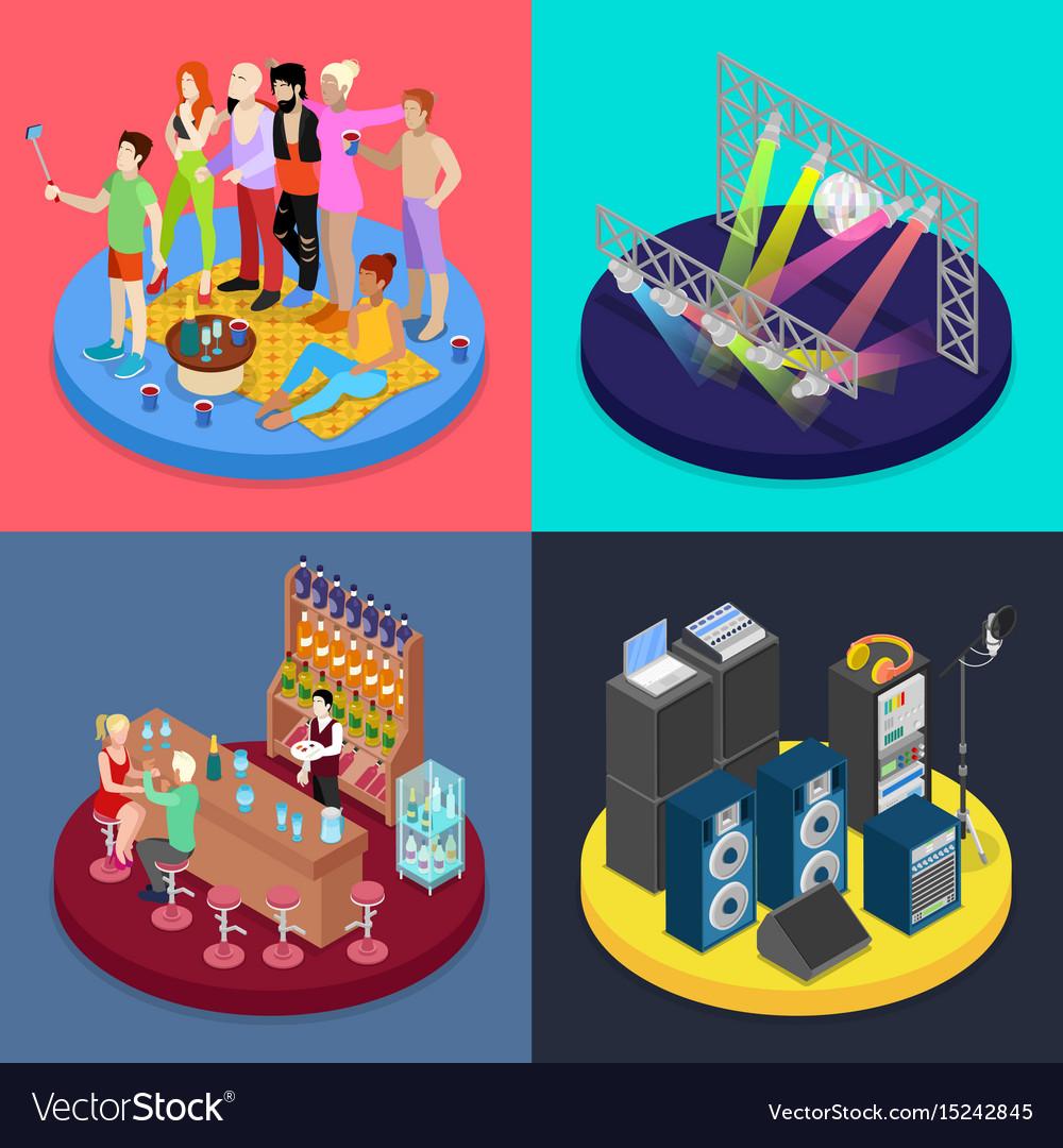 Isometric party concept night club scene vector image