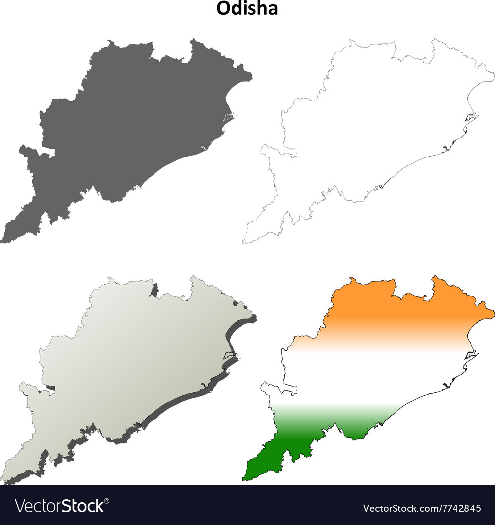 Odisha blank detailed outline map set