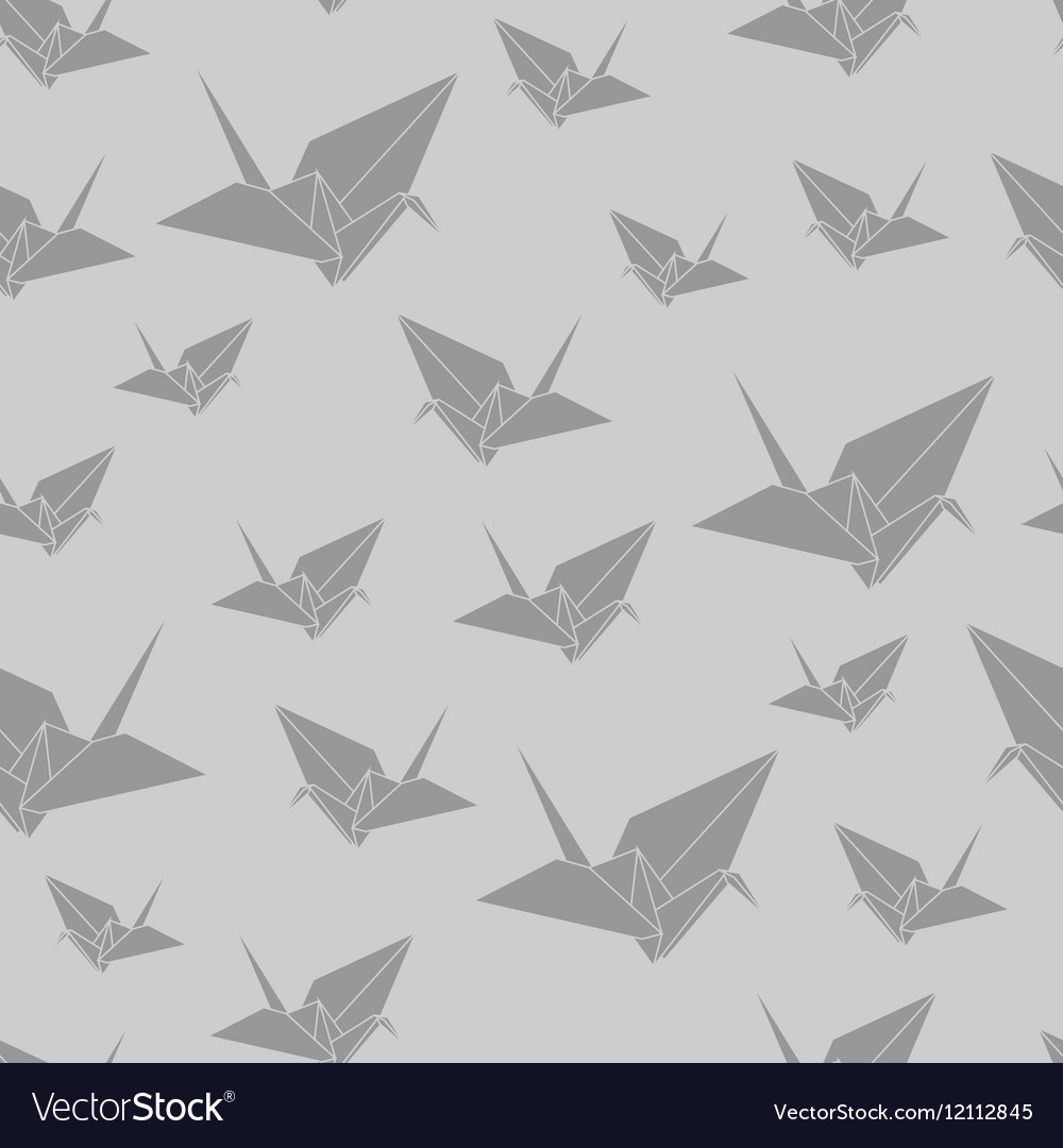 Seamless Pattern Paper Origami Swan Vector Image