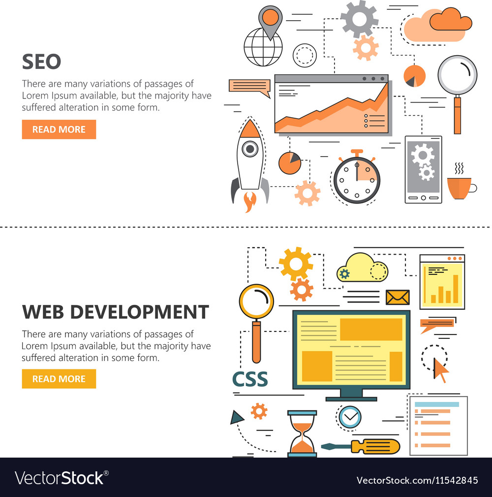 Search Engine Optimization and Web development vector image