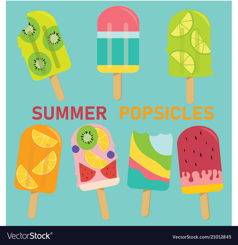 Set of pastel popsicle fruit popsicle ice cream