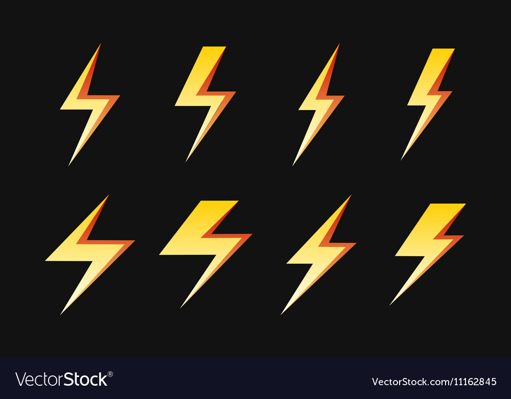 Set of yellow lightnings isolated over black