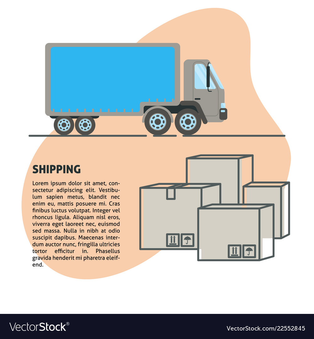 Shipping and delivery banner template in flat