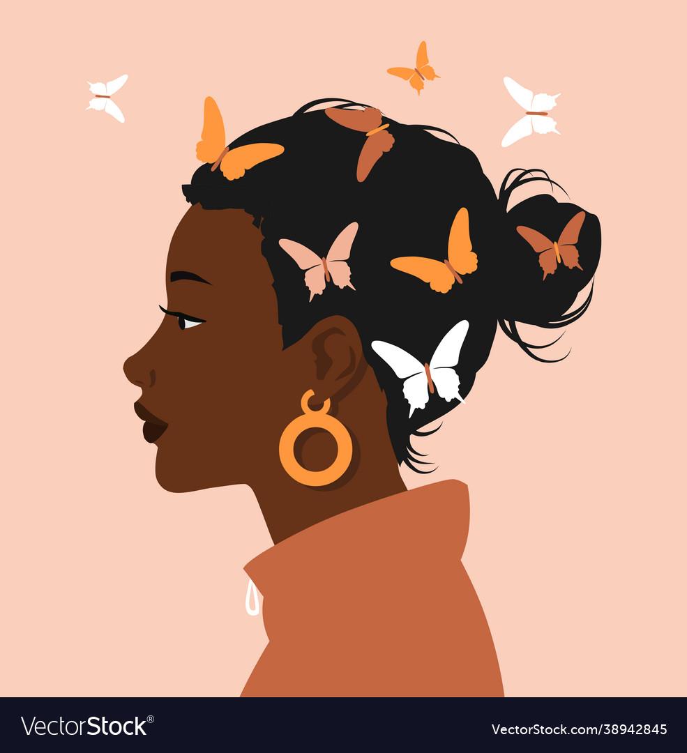 Side portrait black afro woman face on pastel